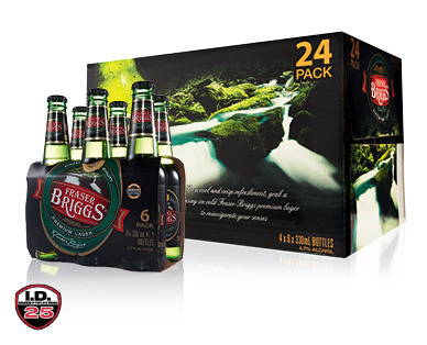 Fraser Briggs Premium Lager 24 x 330ml or 6 x 330ml