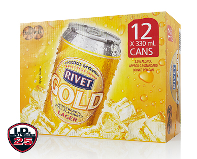 Rivet Gold Mid Strength Beer 12 x 330ml