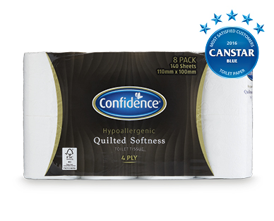Confidence Hypoallergenic Quilted Softness 4ply Toilet Tissue 8pk