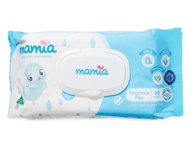 Mamia Baby Wipes 80pk Fragrance Free