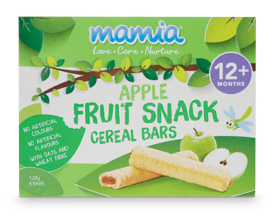 Mamia Fruit Snack Cereal Bars Apple 12+ months 128g