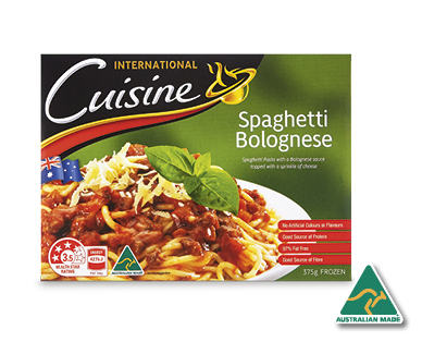Aldi international cuisine spaghetti bolognese 375g for Aldi international cuisine