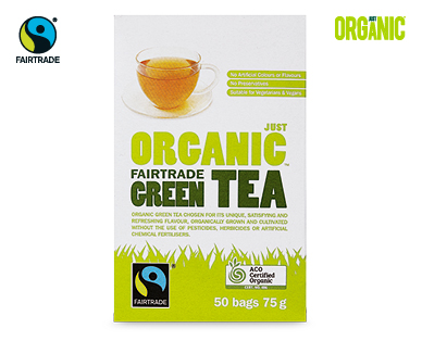 Just Organic Fairtrade Green Tea 50pk/75g