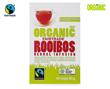 Just Organic Fairtrade Rooibos Herbal Infusion Tea 50pk/80g