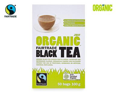 Just Organic Fairtrade Black Tea 50pk/100g