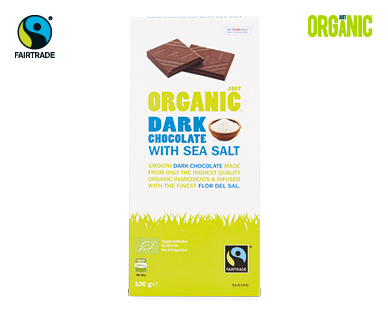 Just Organic Fairtrade Dark Chocolate with Sea Salt 100g
