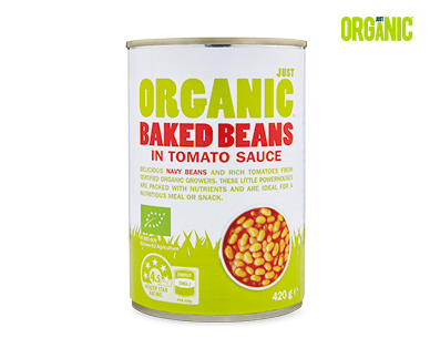 Just Organic Baked Beans in Tomato Sauce 420g