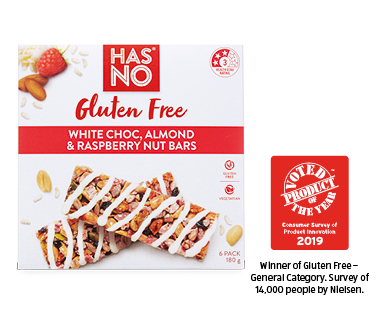 Has No Gluten Free White Choc, Almond & Raspberry Bars 6pk / 180g