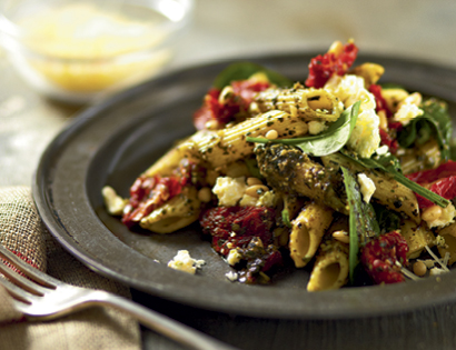 Pesto Pasta Salad with Feta, Sundried Tomatoes & Pine Nuts