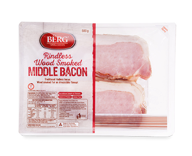 Berg Rindless Middle Smoked Bacon 500g Pack