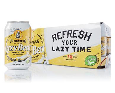 Bundaberg Lazy Bear Rum & Dry 10 x 330ml