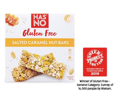 Has No Gluten Free Salted Caramel Nut Bars 6pk / 180g
