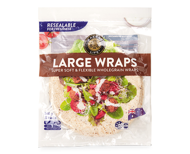 Bakers Life Large Wholemeal Wraps 8pk/560g
