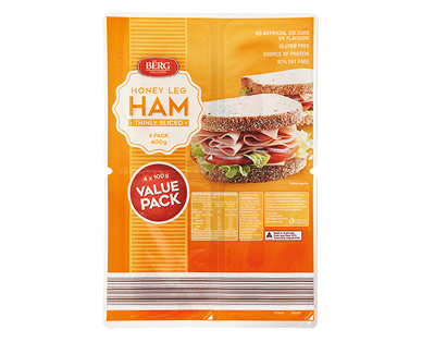 Berg Sliced Honey Ham 4 x 100g