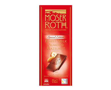 Moser Roth Chocolate Bars Milk Almond Hazelnut 125g