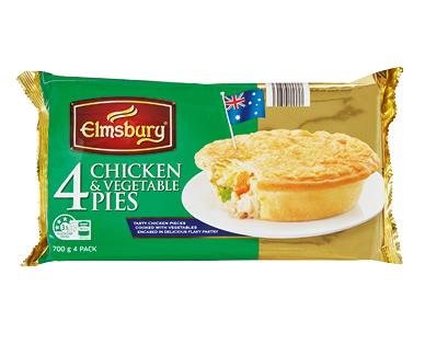 Elmsbury Chicken and Vegetable Pies 4pk/700g