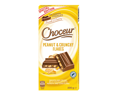 Choceur Peanut & Crunchy Flakes Chocolate Block 200g