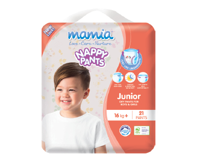 Mamia Unisex Nappy Pants Junior 16kg+ 21pk