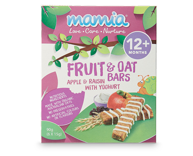 Mamia Fruit & Oat Bars 90g - Apple & Raisin with Yogurt 12+ Months