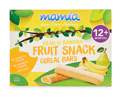 Mamia Fruit Snack Cereal Bars Pear & Banana 12+ months 128g