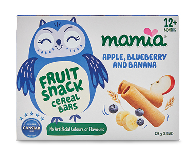 Mamia Fruit Snack Cereal Bars Apple, Blueberry & Banana 12+ months 8pk 128g