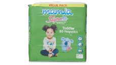 Mamia Unisex Toddler Nappies 10-15kg, 80pk