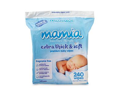 Mamia Premium Baby Wipes Fragrance Free 240pk