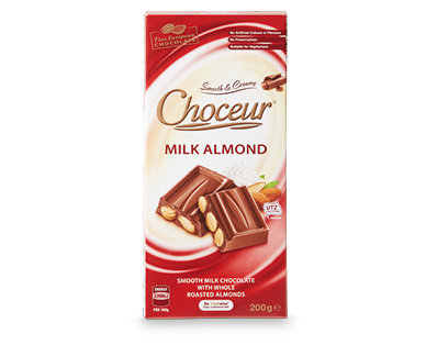 Choceur Milk Almond Block Chocolate 200g