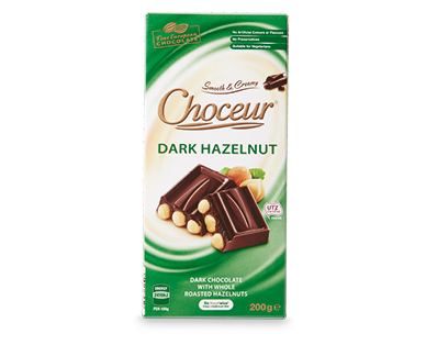 Choceur Dark Hazelnut Block Chocolate 200g