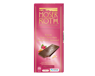 Moser Roth Dark Raspberry Almond Chocolate Block 125g