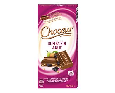 Choceur Rum Raisin & Nut Chocolate Block 200g