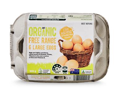 Just Organic Free Range Eggs 6 Pack 300g