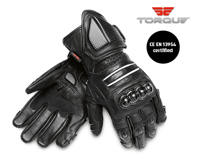 Carbon Knuckle Leather Motorcycle Gloves
