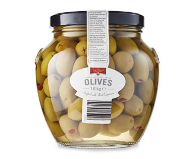 Colossal Green Olives Stuffed with Natural Peppers 1.6kg