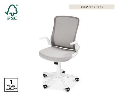 Ergonomic Office Chair – Designer Style in White/Grey