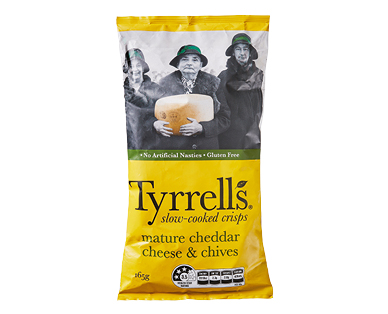 Tyrrell's Cheddar Cheese & Chives Slow Cooked Chips 165g