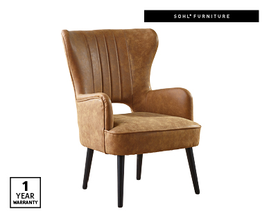 Faux Leather Wingback Armchair