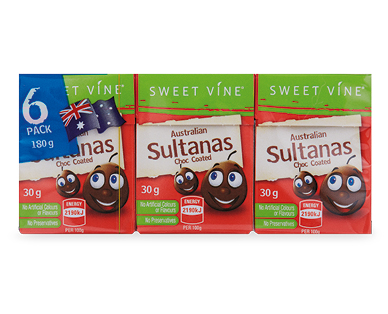 Sweet Vine Coated Sultana Snack Packs 6pk