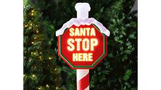 150cm LED Santa Stop Here Post