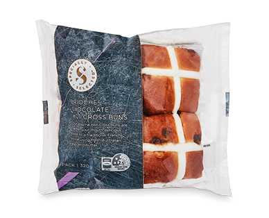 Specially Selected Chocolate Chip Brioche Hot Cross Buns