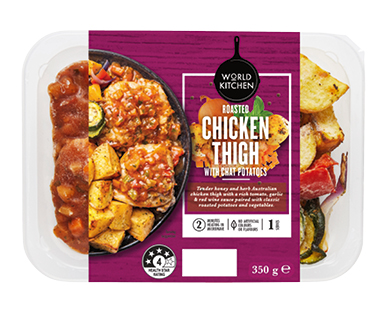 World Kitchen Chicken Thigh with Chat Potatoes Meal 350g