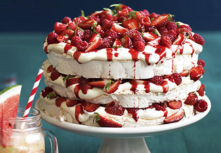 Triple Meringue Stack With Strawberries And Raspberries
