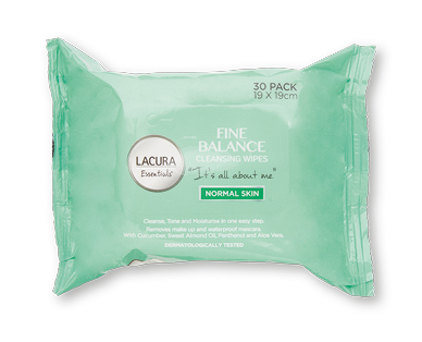 LACURA® Essentials Fine Balance Cleansing Wipes 30pk