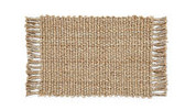 Woven Jute Mat 60cm x 90cm - Natural with Fringe